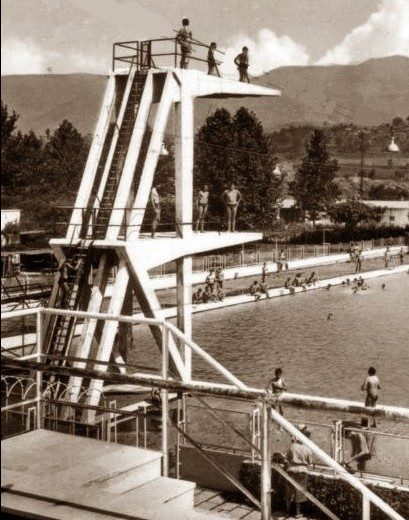 1955, campionati di nuoto alla piscina Clt