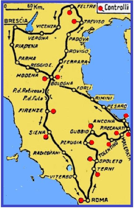 Il percorso della mille miglia 1932